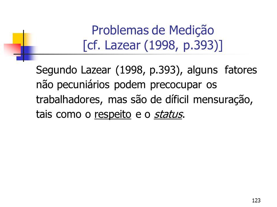 Problemas de Medição [cf. Lazear (1998, p.393)]